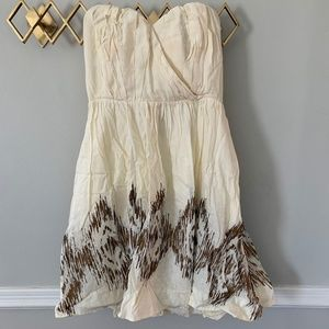 Anthropologie Cream/Gold Windcatcher Dress, Sz. 10